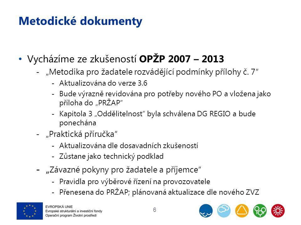 """Metodické dokumenty Vycházíme ze zkušeností OPŽP 2007 – 2013  """"Metodika pro žadatele rozvádějící podmínky přílohy č."""