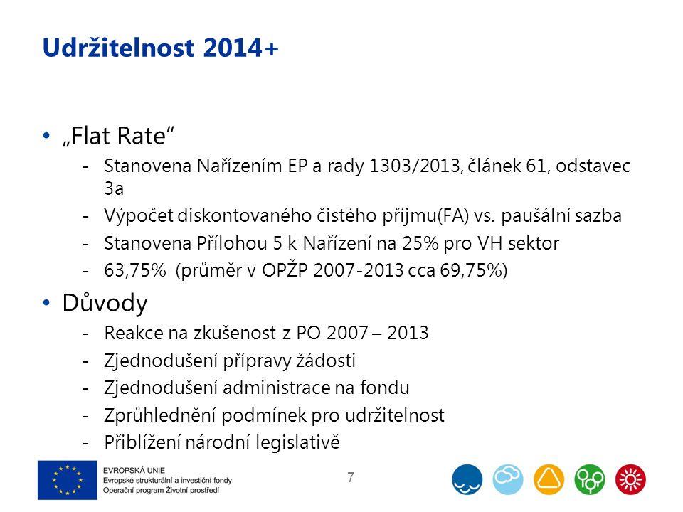 """Udržitelnost 2014+ """"Flat Rate  Stanovena Nařízením EP a rady 1303/2013, článek 61, odstavec 3a  Výpočet diskontovaného čistého příjmu(FA) vs."""