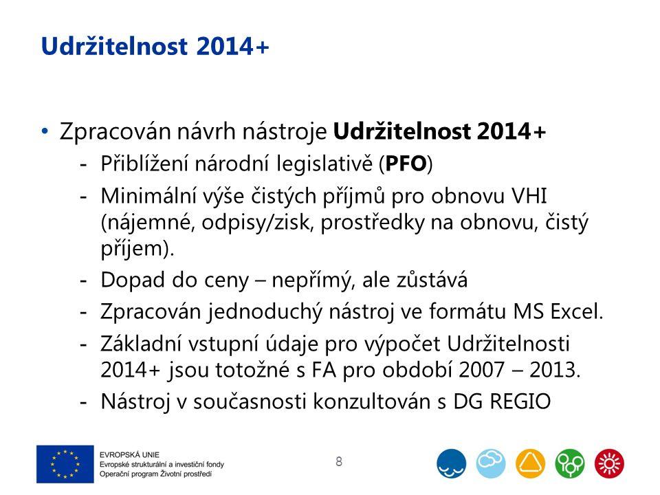 Udržitelnost 2014+ Zpracován návrh nástroje Udržitelnost 2014+  Přiblížení národní legislativě (PFO)  Minimální výše čistých příjmů pro obnovu VHI (nájemné, odpisy/zisk, prostředky na obnovu, čistý příjem).