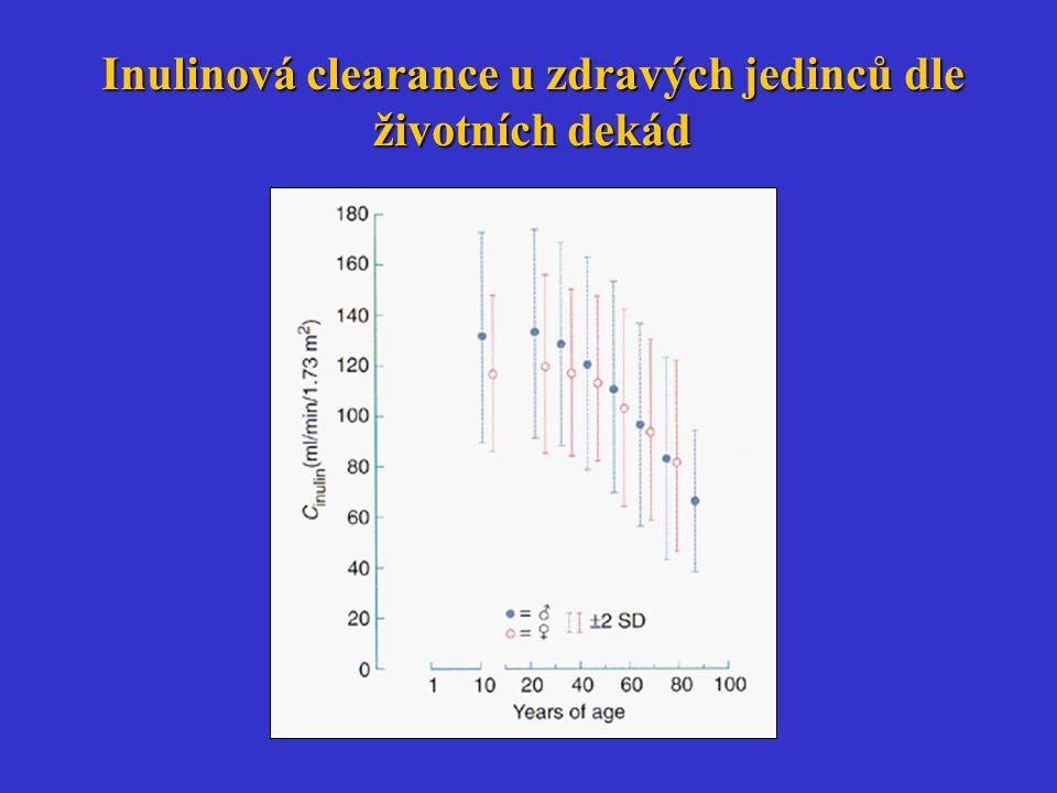 Inulinová clearance u zdravých jedinců dle životních dekád
