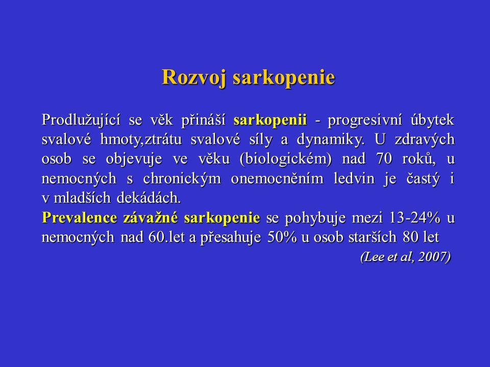 Rozvoj sarkopenie Prodlužující se věk přináší sarkopenii - progresivní úbytek svalové hmoty,ztrátu svalové síly a dynamiky. U zdravých osob se objevuj
