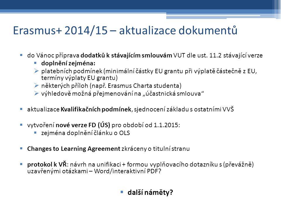 Erasmus+ 2014/15 – aktualizace dokumentů  do Vánoc příprava dodatků k stávajícím smlouvám VUT dle ust.