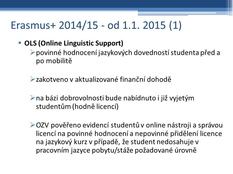 Erasmus+ 2014/15 - od 1.1.2015 (2)  Bankovní účty pro příjem stipendia  bude v jednání s EO, návrh OZV odložit opatření na AR 2015/2016 - více času na důslednou implementaci + jednání o podmínkách s KB  Metodika výpočtu stipendia  nově platná pro všechny mobility započaté po 1.1.2015, vynechává 31.