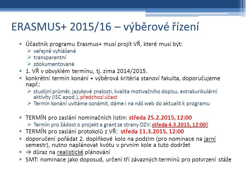 ERASMUS+ 2015/16 – výběrové řízení  Účastník programu Erasmus+ musí projít VŘ, které musí být:  veřejně vyhlášené  transparentní  zdokumentované  1.