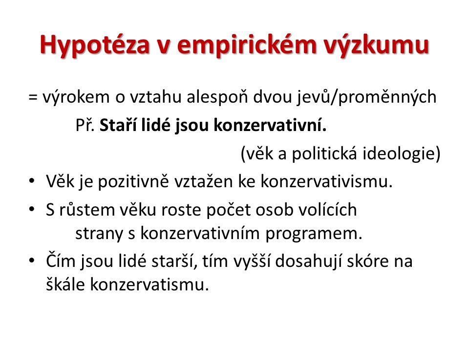 Hypotéza v empirickém výzkumu = výrokem o vztahu alespoň dvou jevů/proměnných Př.
