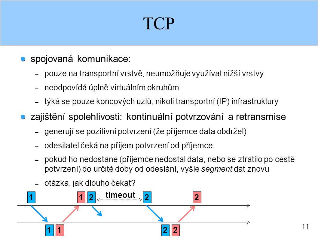 11 TCP spojovaná komunikace: – pouze na transportní vrstvě, neumožňuje využívat nižší vrstvy – neodpovídá úplně virtuálním okruhům – týká se pouze koncových uzlů, nikoli transportní (IP) infrastruktury zajištění spolehlivosti: kontinuální potvrzování a retransmise – generují se pozitivní potvrzení (že příjemce data obdržel) – odesilatel čeká na příjem potvrzení od příjemce – pokud ho nedostane (příjemce nedostal data, nebo se ztratilo po cestě potvrzení) do určité doby od odeslání, vyšle segment dat znovu – otázka, jak dlouho čekat.