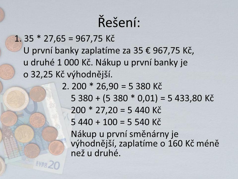 Řešení: 1. 35 * 27,65 = 967,75 Kč U první banky zaplatíme za 35 € 967,75 Kč, u druhé 1 000 Kč. Nákup u první banky je o 32,25 Kč výhodnější. 2. 200 *