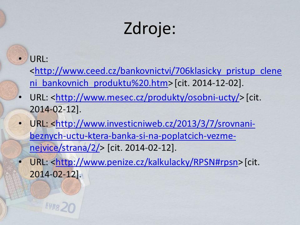 Zdroje: URL: [cit. 2014-12-02].http://www.ceed.cz/bankovnictvi/706klasicky_pristup_clene ni_bankovnich_produktu%20.htm URL: [cit. 2014-02-12].http://w