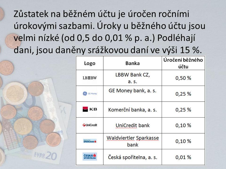 Zůstatek na běžném účtu je úročen ročními úrokovými sazbami. Úroky u běžného účtu jsou velmi nízké (od 0,5 do 0,01 % p. a.) Podléhají dani, jsou daněn