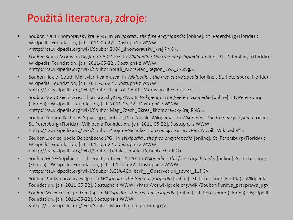Použitá literatura, zdroje: Soubor:2004 Jihomoravsky kraj.PNG.
