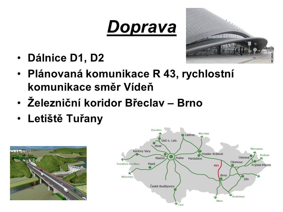 Doprava Dálnice D1, D2 Plánovaná komunikace R 43, rychlostní komunikace směr Vídeň Železniční koridor Břeclav – Brno Letiště Tuřany