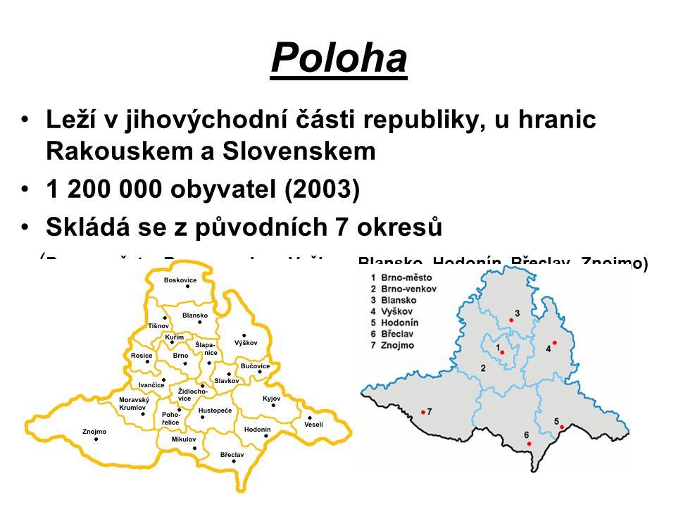 Poloha Leží v jihovýchodní části republiky, u hranic Rakouskem a Slovenskem 1 200 000 obyvatel (2003) Skládá se z původních 7 okresů ( Brno – město, Brno – venkov, Vyškov, Blansko, Hodonín, Břeclav, Znojmo)