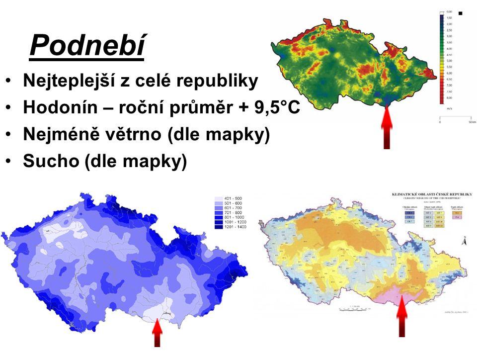 Podnebí Nejteplejší z celé republiky Hodonín – roční průměr + 9,5°C Nejméně větrno (dle mapky) Sucho (dle mapky)