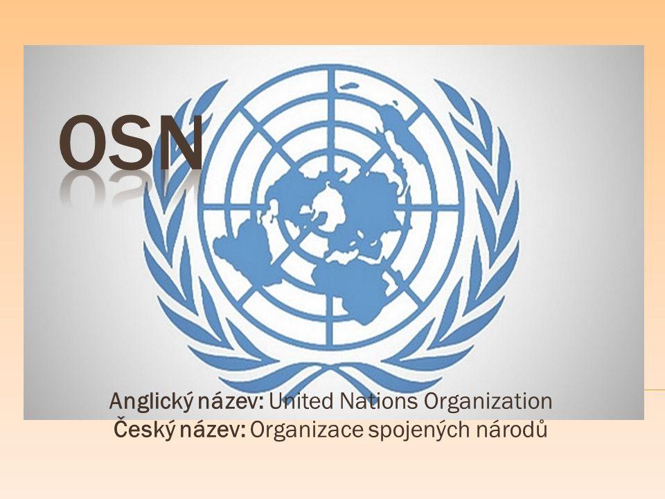 Anglický název: United Nations Organization Český název: Organizace spojených národů