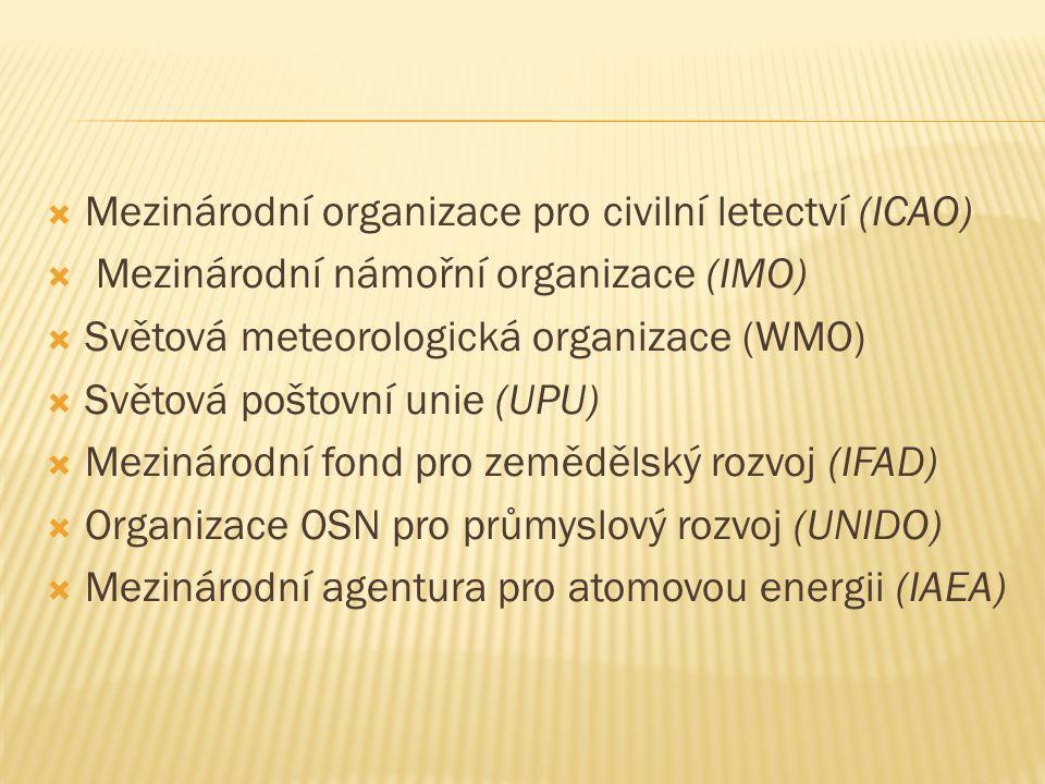  Mezinárodní organizace pro civilní letectví (ICAO)  Mezinárodní námořní organizace (IMO)  Světová meteorologická organizace (WMO)  Světová poštovní unie (UPU)  Mezinárodní fond pro zemědělský rozvoj (IFAD)  Organizace OSN pro průmyslový rozvoj (UNIDO)  Mezinárodní agentura pro atomovou energii (IAEA)
