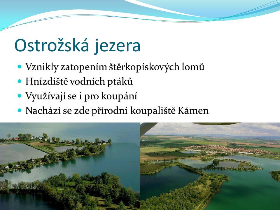 Ostrožská jezera Vznikly zatopením štěrkopískových lomů Hnízdiště vodních ptáků Využívají se i pro koupání Nachází se zde přírodní koupaliště Kámen