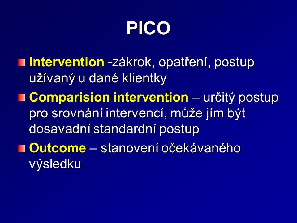 PICO Intervention -zákrok, opatření, postup užívaný u dané klientky Comparision intervention – určitý postup pro srovnání intervencí, může jím být dosavadní standardní postup Outcome – stanovení očekávaného výsledku