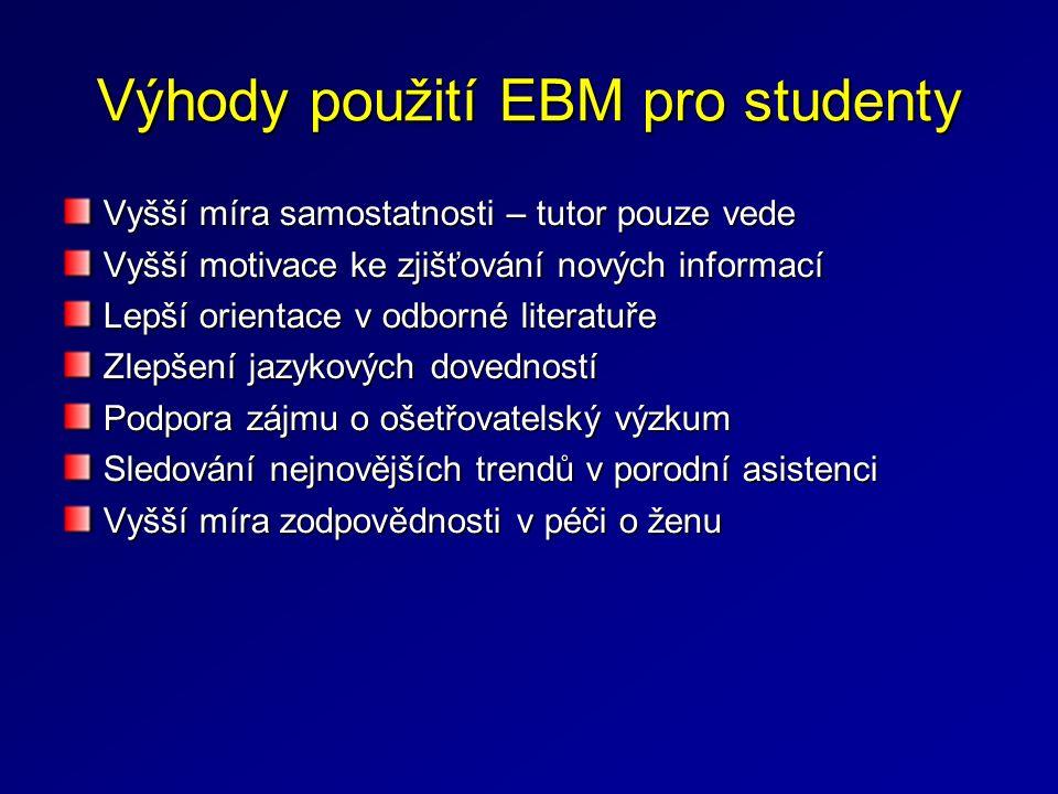 Výhody použití EBM pro studenty Vyšší míra samostatnosti – tutor pouze vede Vyšší motivace ke zjišťování nových informací Lepší orientace v odborné li