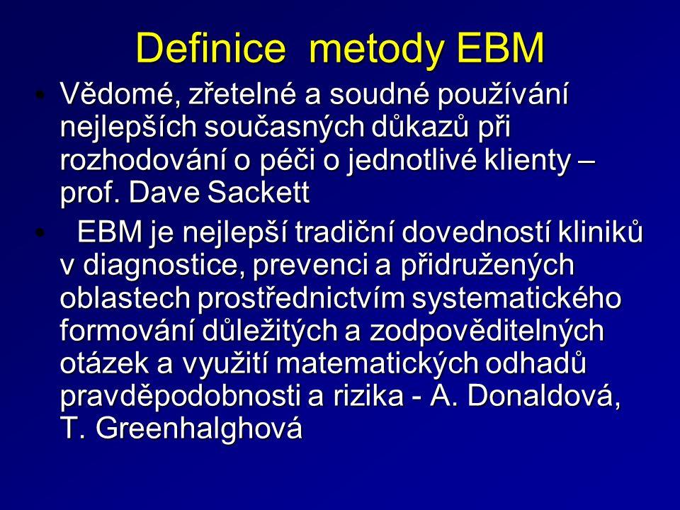 Definice metody EBM Vědomé, zřetelné a soudné používání nejlepších současných důkazů při rozhodování o péči o jednotlivé klienty – prof.