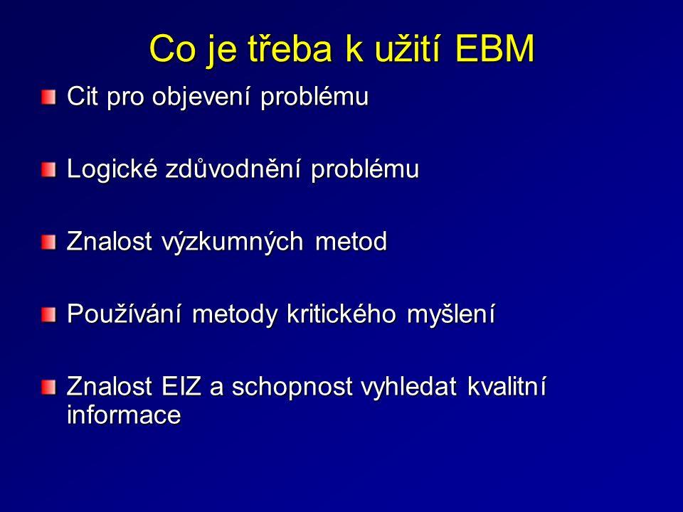 Co je třeba k užití EBM Cit pro objevení problému Logické zdůvodnění problému Znalost výzkumných metod Používání metody kritického myšlení Znalost EIZ