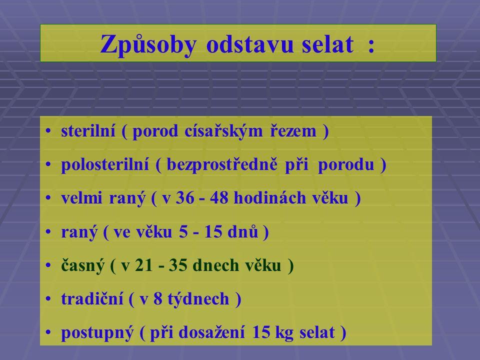 R ozlišení základních fází výživy selat : kolostrální ( zhruba 24 hodin ) výhradního příjmu mateřského mléka ( asi do 7.