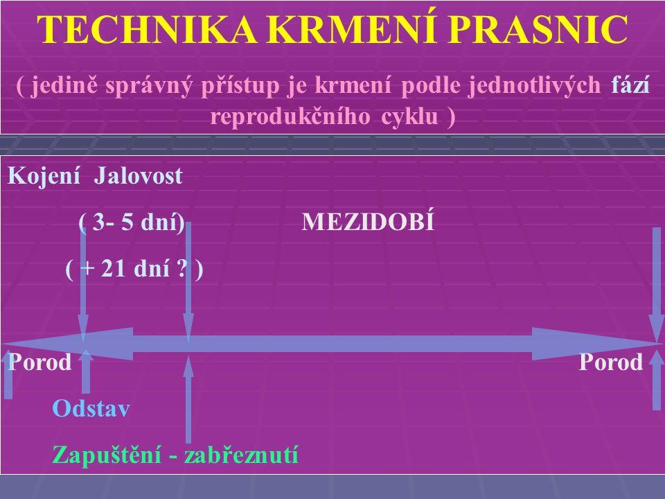 TECHNIKA KRMENÍ PRASNIC ( jedině správný přístup je krmení podle jednotlivých fází reprodukčního cyklu ) Kojení ( 21 - 35 dní ) MEZIDOBÍ Porod Odstav ( časný )