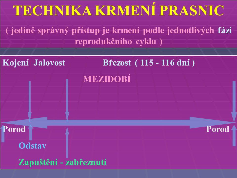 TECHNIKA KRMENÍ PRASNIC ( jedině správný přístup je krmení podle jednotlivých fází reprodukčního cyklu ) Kojení Jalovost ( 3- 5 dní) MEZIDOBÍ ( + 21 dní .