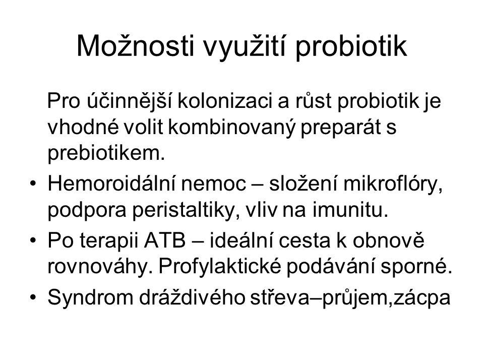 Možnosti využití probiotik Pro účinnější kolonizaci a růst probiotik je vhodné volit kombinovaný preparát s prebiotikem. Hemoroidální nemoc – složení
