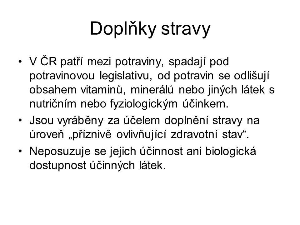 Doplňky stravy V ČR patří mezi potraviny, spadají pod potravinovou legislativu, od potravin se odlišují obsahem vitaminů, minerálů nebo jiných látek s
