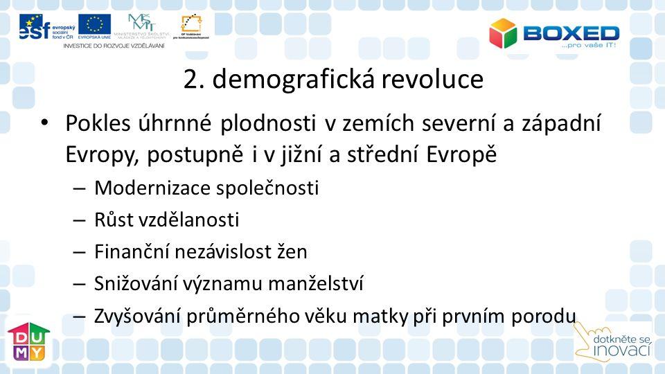 2. demografická revoluce Pokles úhrnné plodnosti v zemích severní a západní Evropy, postupně i v jižní a střední Evropě – Modernizace společnosti – Rů