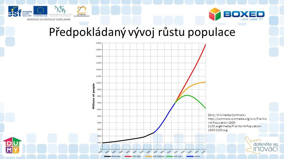 Předpokládaný vývoj růstu populace Zdroj: Wikimedia Commons - http://commons.wikimedia.org/wiki/File:Wo rld-Population-1800- 2100.svg#/media/File:World-Population- 1800-2100.svg