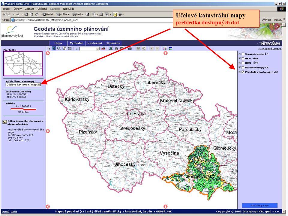 Účelové katastrální mapy přehledka dostupných dat