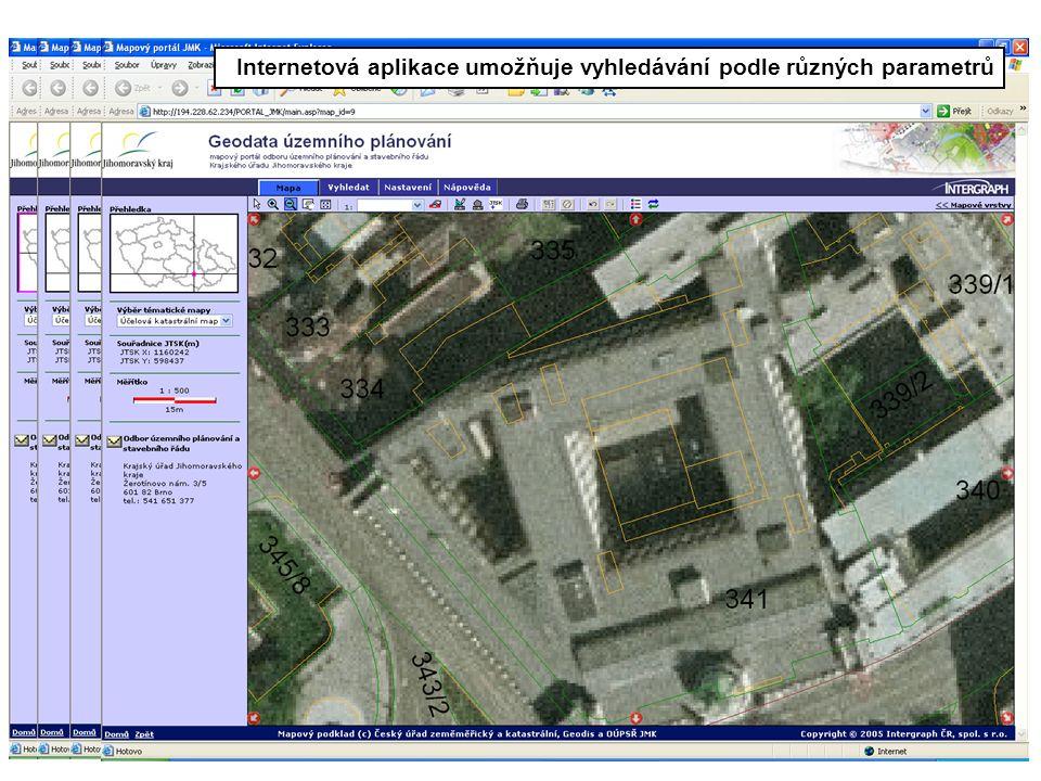 Internetová aplikace umožňuje vyhledávání podle různých parametrů