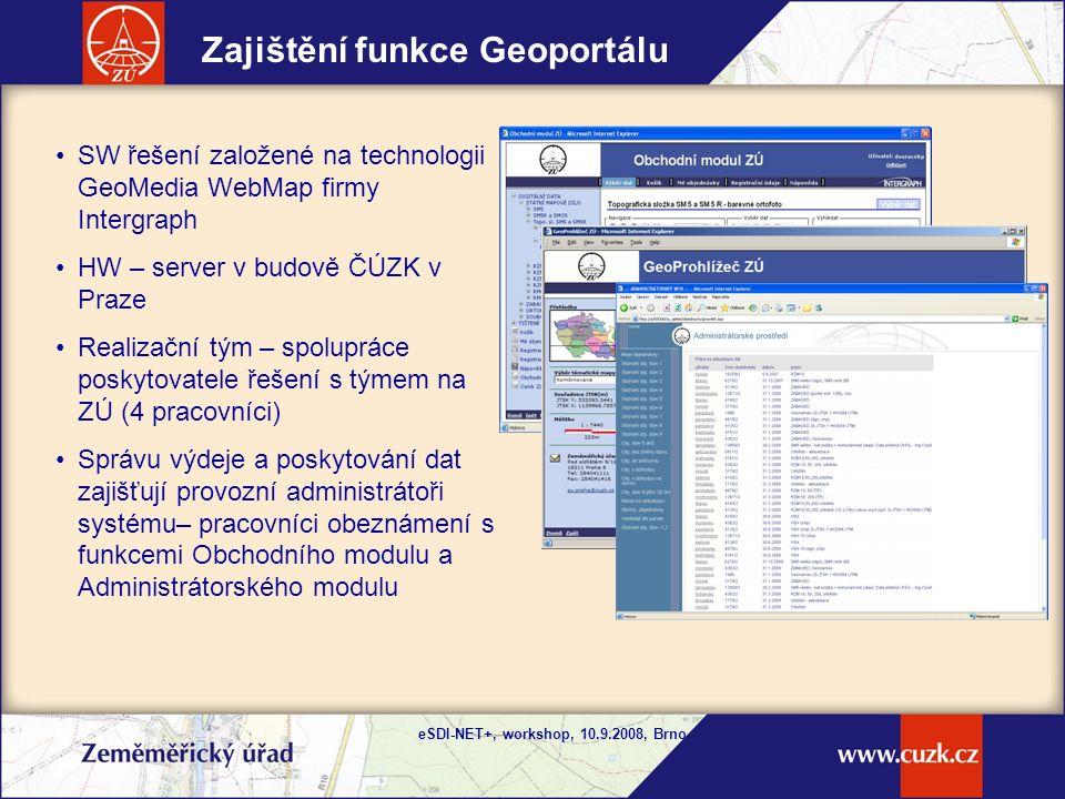 eSDI-NET+, workshop, 10.9.2008, Brno Průběžně se rozšiřující přínosy Geoportálového řešení Výhody pro zákazníky : stále nejaktuálnější data, která má ZÚ k dispozici, standardní mapové služby - forma poskytování geodat výhodná pro zákazníky, ale i pro poskytovatele.