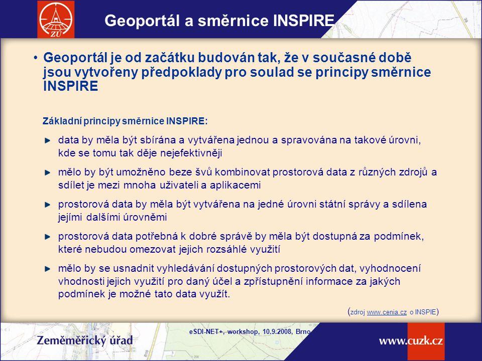 eSDI-NET+, workshop, 10.9.2008, Brno Metadata prostorových dat Metadata popisují produkty vytvářené a spravované ZÚ Metadata v současné době podle standardu ISVS v.