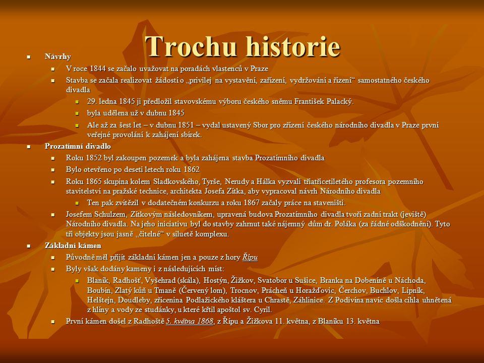 """Trochu historie Návrhy Návrhy V roce 1844 se začalo uvažovat na poradách vlastenců v Praze V roce 1844 se začalo uvažovat na poradách vlastenců v Praze Stavba se začala realizovat žádostí o """"privilej na vystavění, zařízení, vydržování a řízení samostatného českého divadla Stavba se začala realizovat žádostí o """"privilej na vystavění, zařízení, vydržování a řízení samostatného českého divadla 29."""
