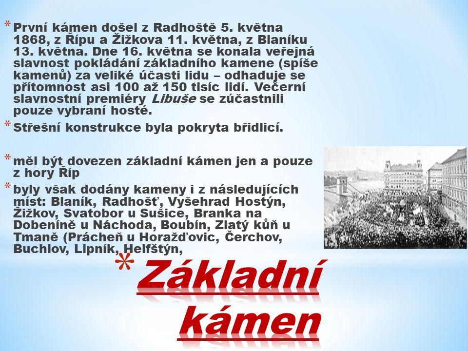 * První kámen došel z Radhoště 5. května 1868, z Řípu a Žižkova 11.