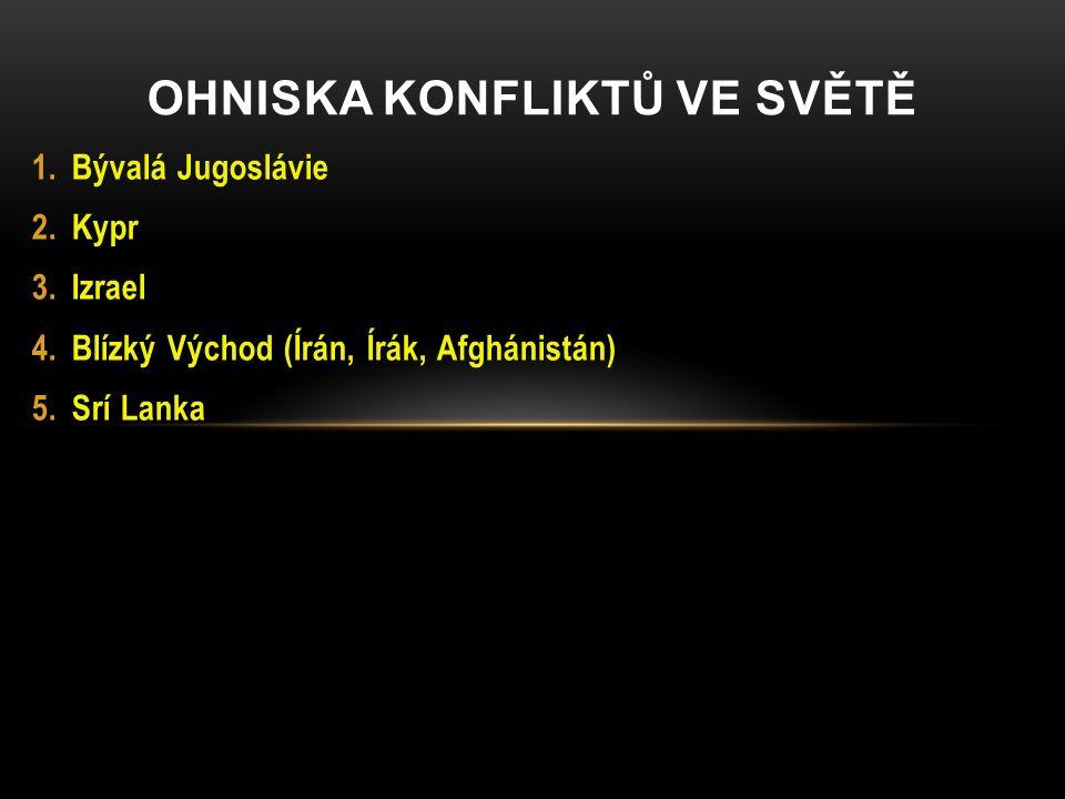 BÝVALÁ JUGOSLÁVIE Jugoslávie = Slovinsko, Chorvatsko, Makedonie, B&H, Kosovo, Srbsko, Černá Hora Po 1990 nepokoje, občanské války s nacionálním podkladem.