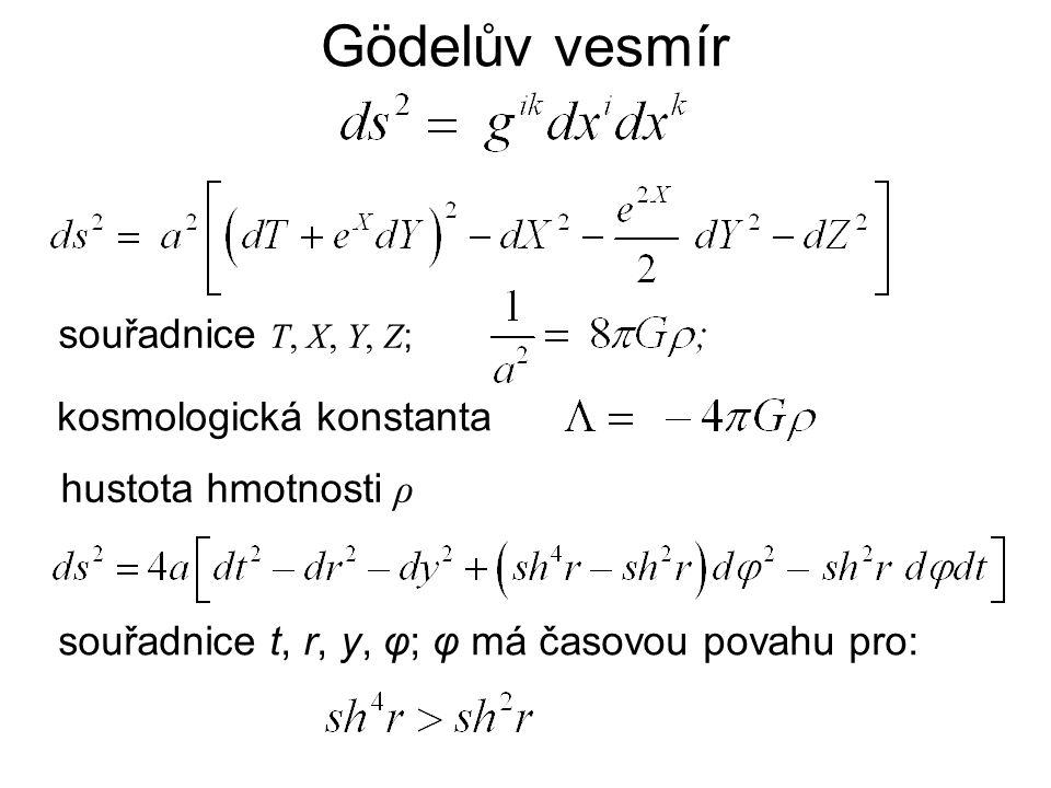 Gödelův vesmír souřadnice T, X, Y, Z ; kosmologická konstanta hustota hmotnosti ρ souřadnice t, r, y, φ; φ má časovou povahu pro: