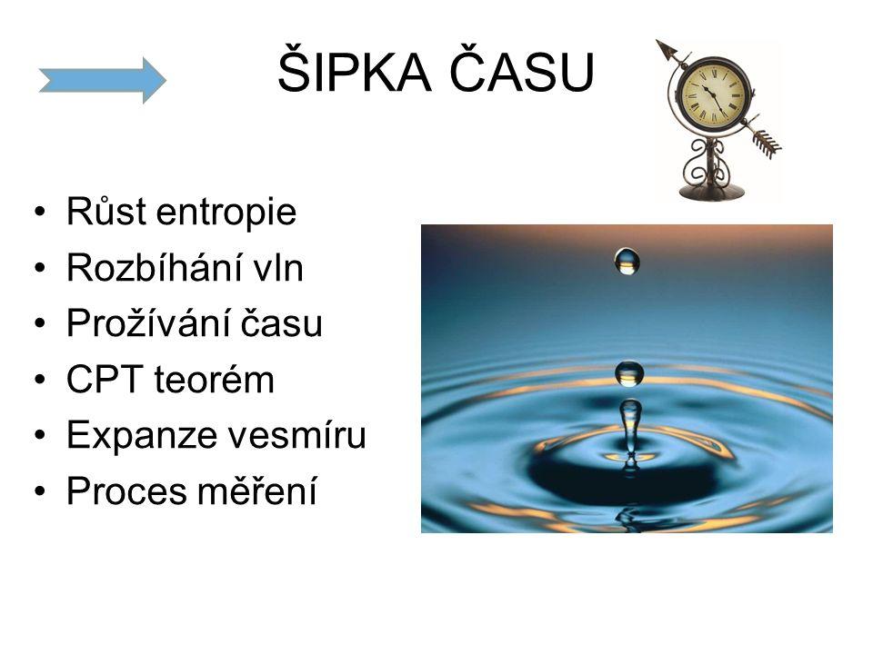 ŠIPKA ČASU Růst entropie Rozbíhání vln Prožívání času CPT teorém Expanze vesmíru Proces měření