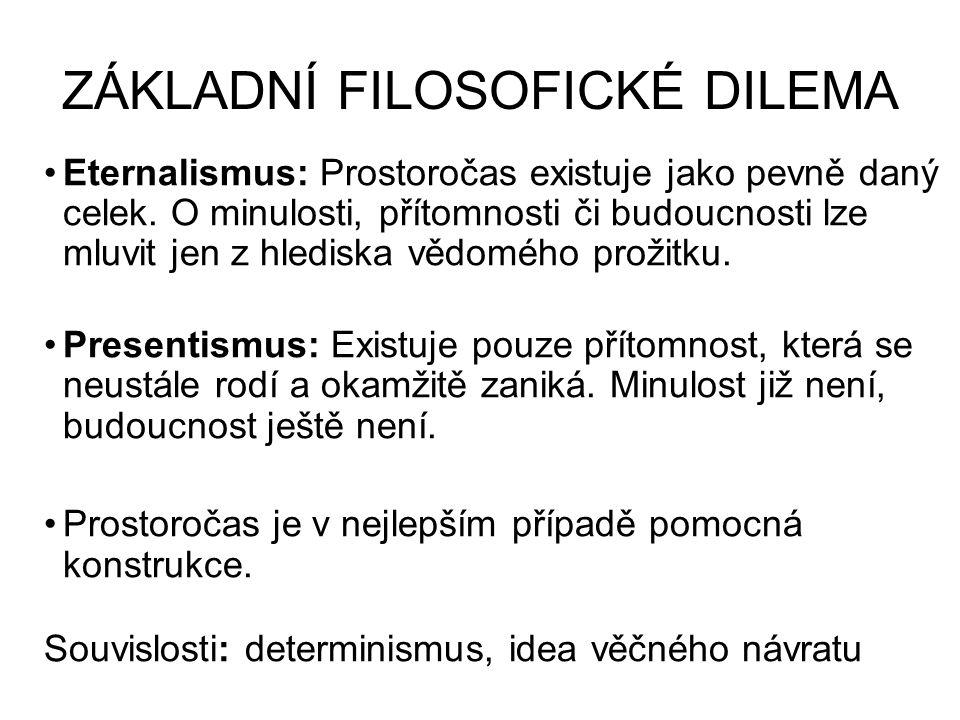 ZÁKLADNÍ FILOSOFICKÉ DILEMA Eternalismus: Prostoročas existuje jako pevně daný celek.