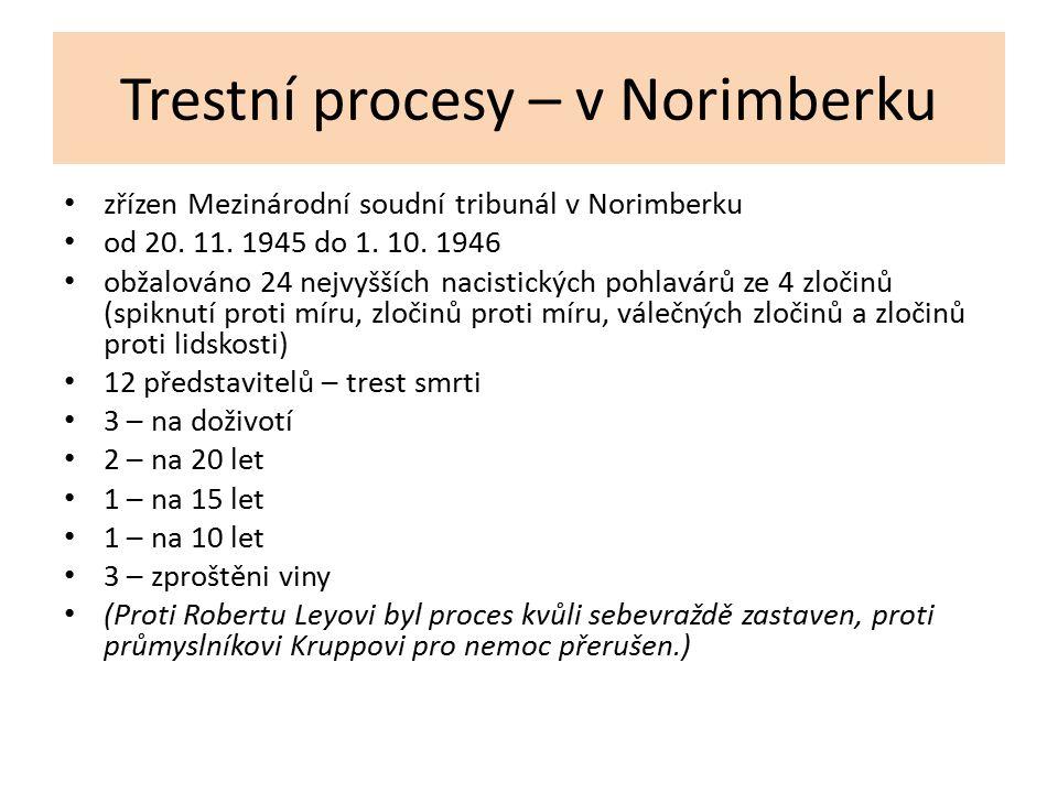 Trestní procesy – v Norimberku zřízen Mezinárodní soudní tribunál v Norimberku od 20. 11. 1945 do 1. 10. 1946 obžalováno 24 nejvyšších nacistických po