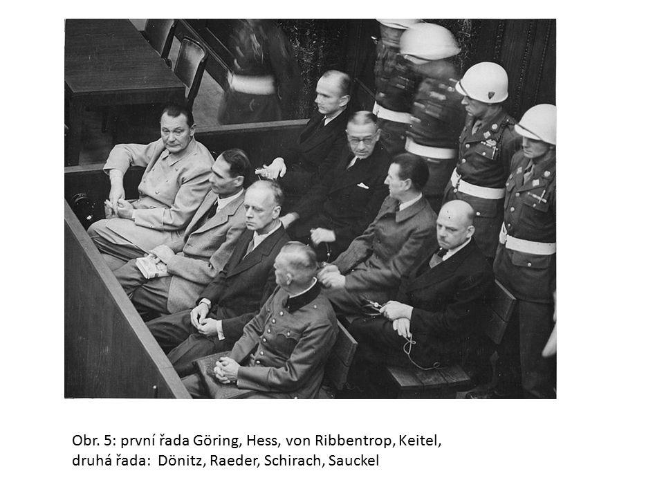 Obr. 5: první řada Göring, Hess, von Ribbentrop, Keitel, druhá řada: Dönitz, Raeder, Schirach, Sauckel