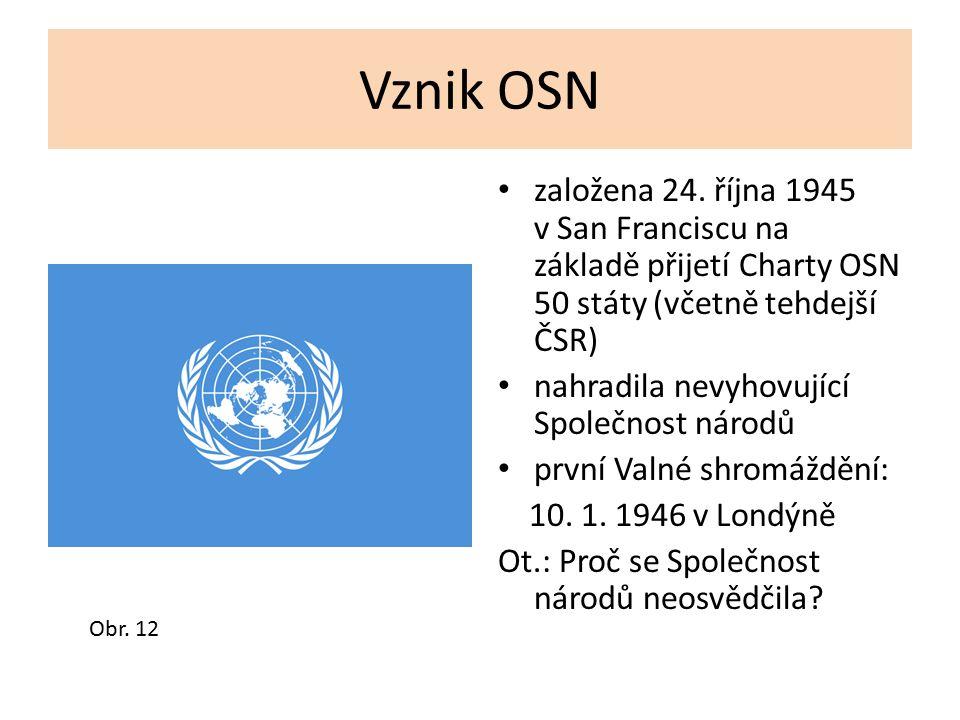 Vznik OSN založena 24. října 1945 v San Franciscu na základě přijetí Charty OSN 50 státy (včetně tehdejší ČSR) nahradila nevyhovující Společnost národ