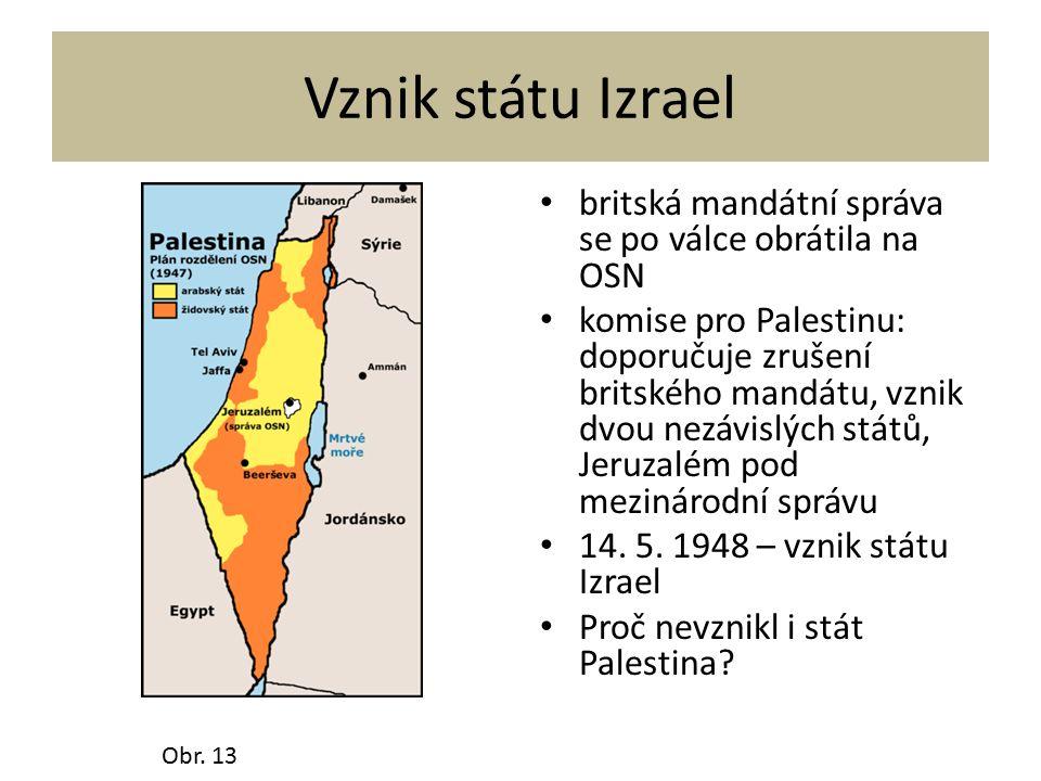 Vznik státu Izrael britská mandátní správa se po válce obrátila na OSN komise pro Palestinu: doporučuje zrušení britského mandátu, vznik dvou nezávislých států, Jeruzalém pod mezinárodní správu 14.