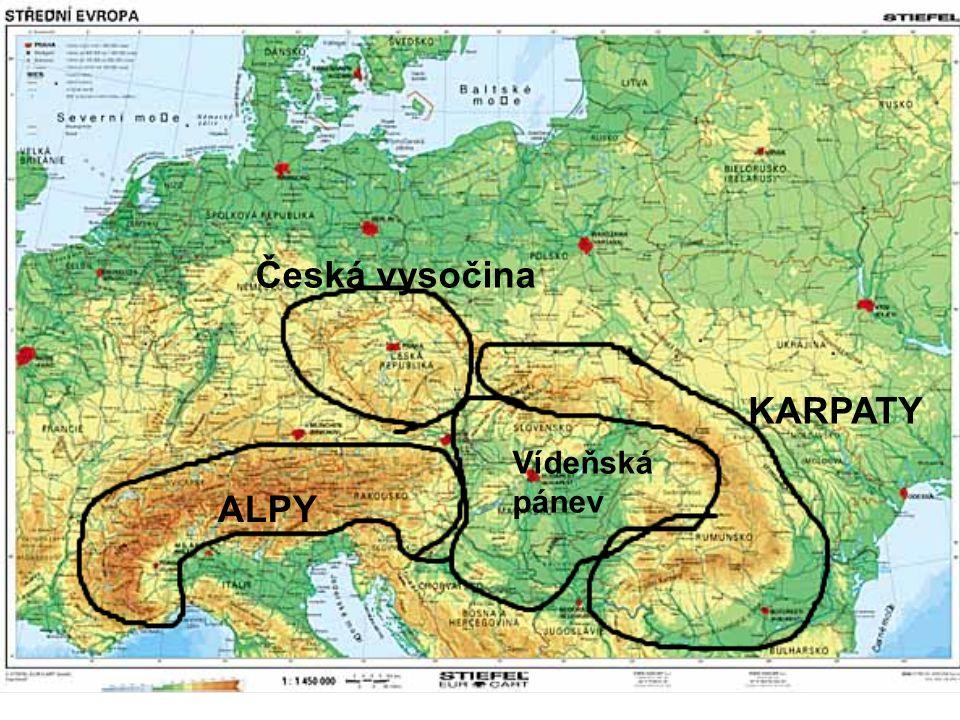 KARPATY ALPY Česká vysočina Vídeňská pánev