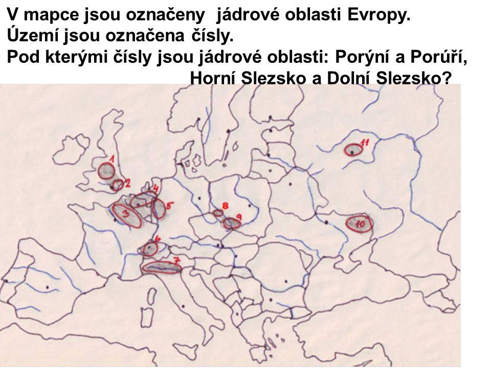 V mapce jsou označeny jádrové oblasti Evropy. Území jsou označena čísly.