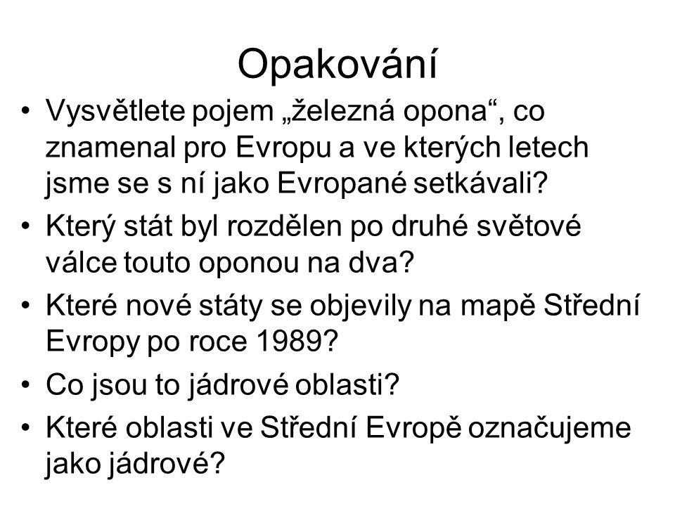 """Opakování Vysvětlete pojem """"železná opona , co znamenal pro Evropu a ve kterých letech jsme se s ní jako Evropané setkávali."""