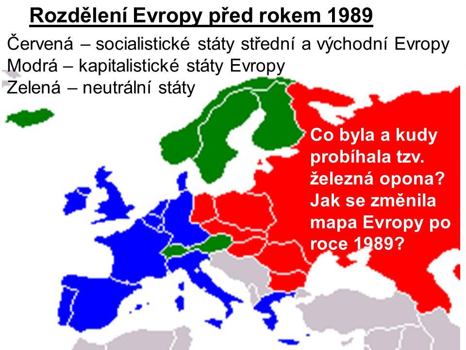 Červená – socialistické státy střední a východní Evropy Modrá – kapitalistické státy Evropy Zelená – neutrální státy Co byla a kudy probíhala tzv.