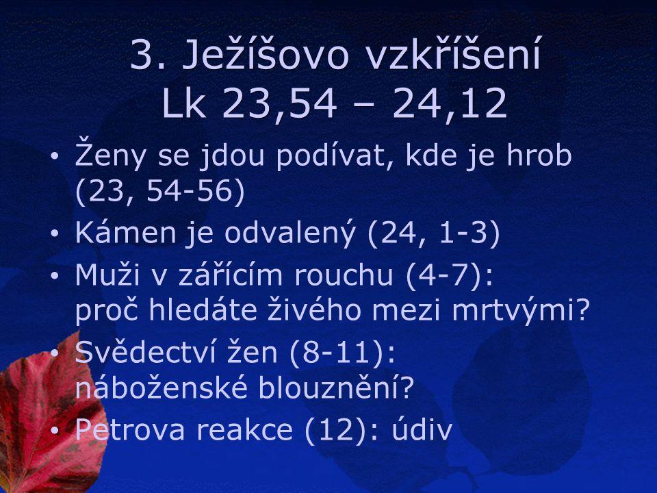 3. Ježíšovo vzkříšení Lk 23,54 – 24,12 Ženy se jdou podívat, kde je hrob (23, 54-56) Kámen je odvalený (24, 1-3) Muži v zářícím rouchu (4-7): proč hle